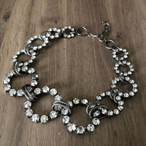 Jewelry - Gunmetal grey and crystal stone statement necklace